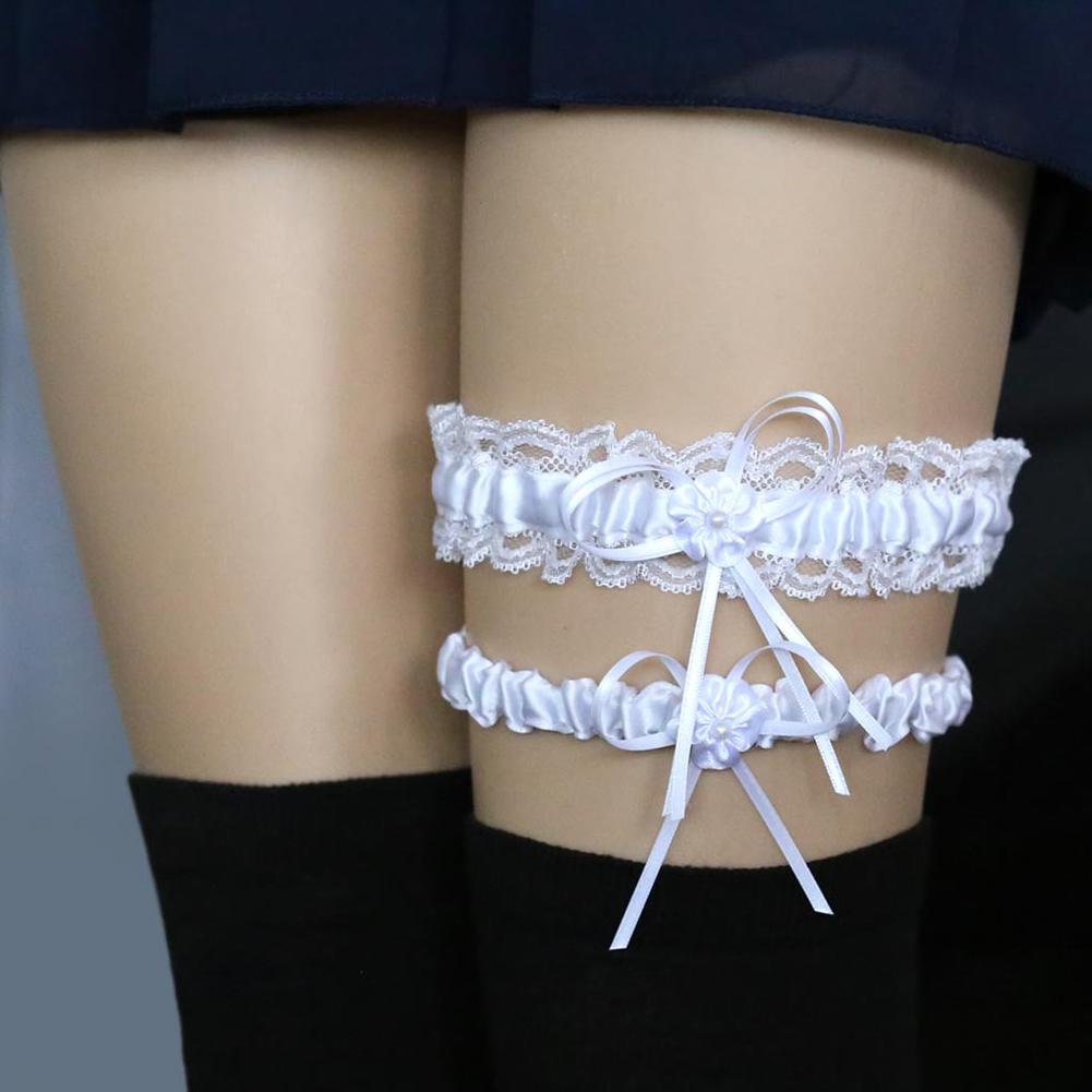 Women Girls Lace Bridal Lingerie Bowknot Wedding Party Cosplay Leg Garter Belt Suspender  white