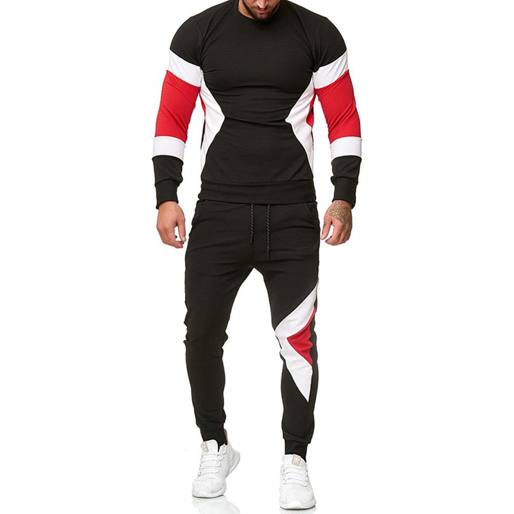 Autumn Contrast Color Sports Suits Slim Top+Drawstring Trouser for Man black_XL