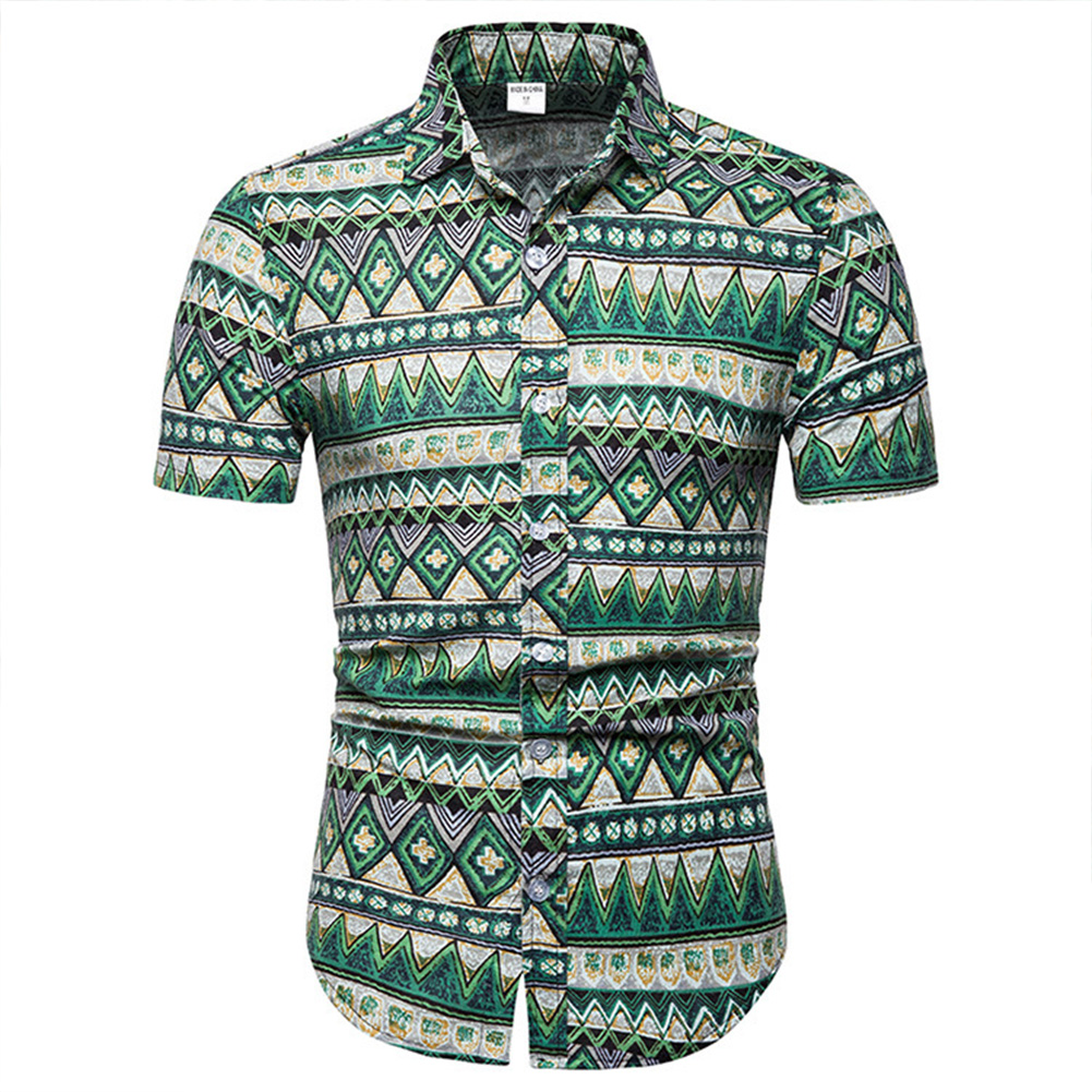 Men Floral Pattern Short Sleeve Blouse Hawaiian Shirts Summer Beach Holiday T Shirt As shown_L