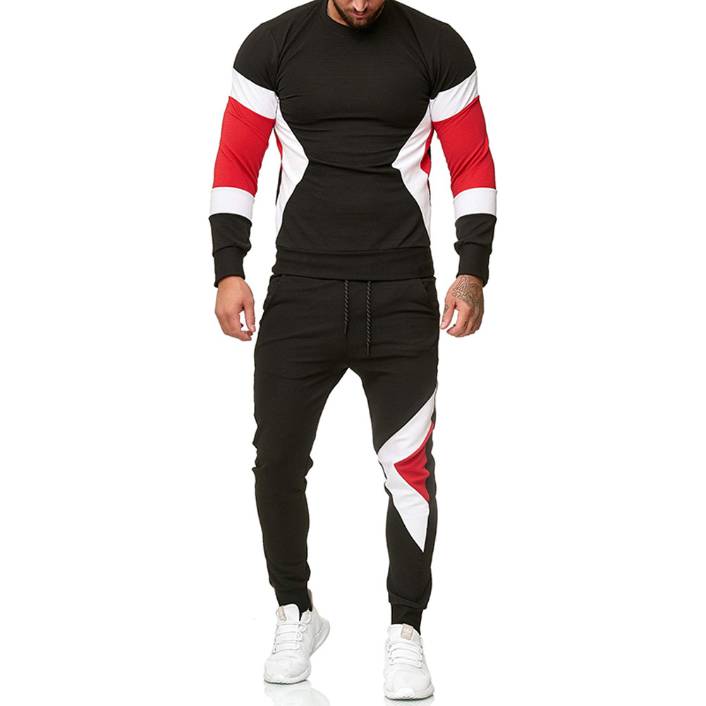 Autumn Contrast Color Sports Suits Slim Top+Drawstring Trouser for Man black_2XL