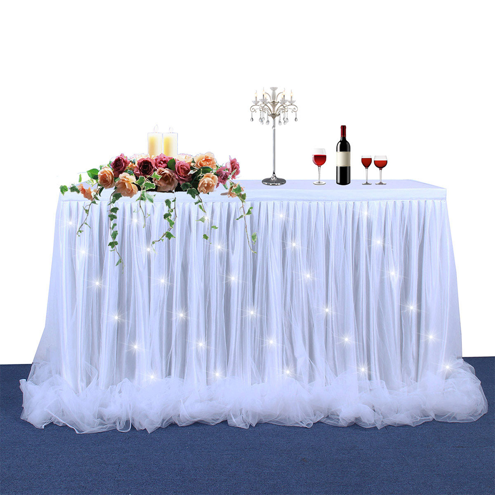 Thread Ribbon Table Skirt with LED Light for Wedding Party Decoration white_9FT*30in