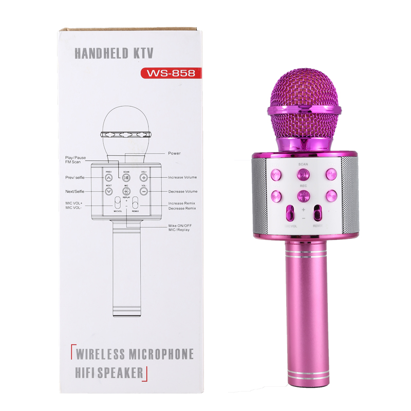 Bluetooth Wireless Condenser Magic Karaoke Microphone Mobile Phone Player MIC Speaker Record Music pink_Ws858