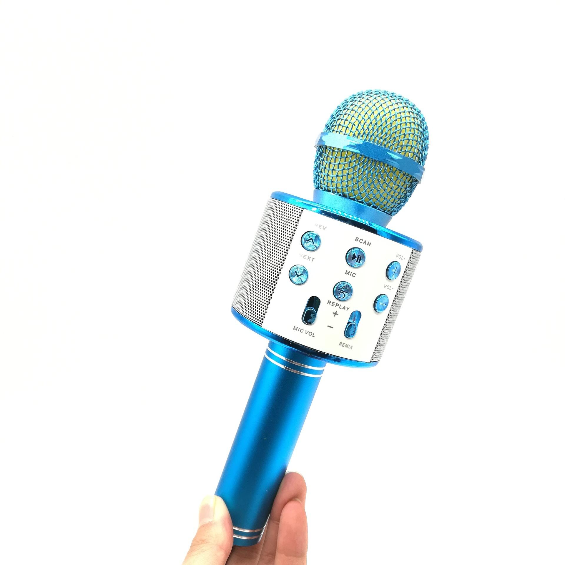 Bluetooth Wireless Condenser Magic Karaoke Microphone Mobile Phone Player MIC Speaker Record Music blue_Ws858