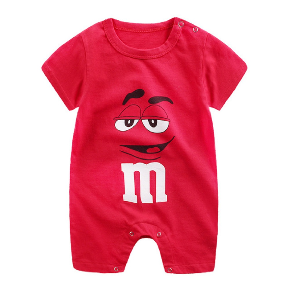 Newborn Infant Baby Boy Girl Cartoon Printing Short Sleeve Romper Bodysuit   letters_73CM