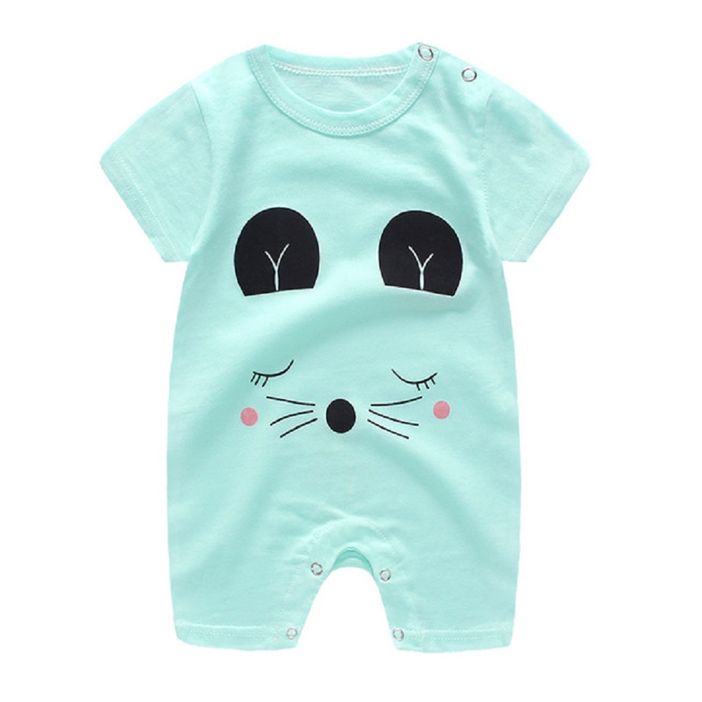Newborn Infant Baby Boy Girl Cartoon Printing Short Sleeve Romper Bodysuit   cat_66cm