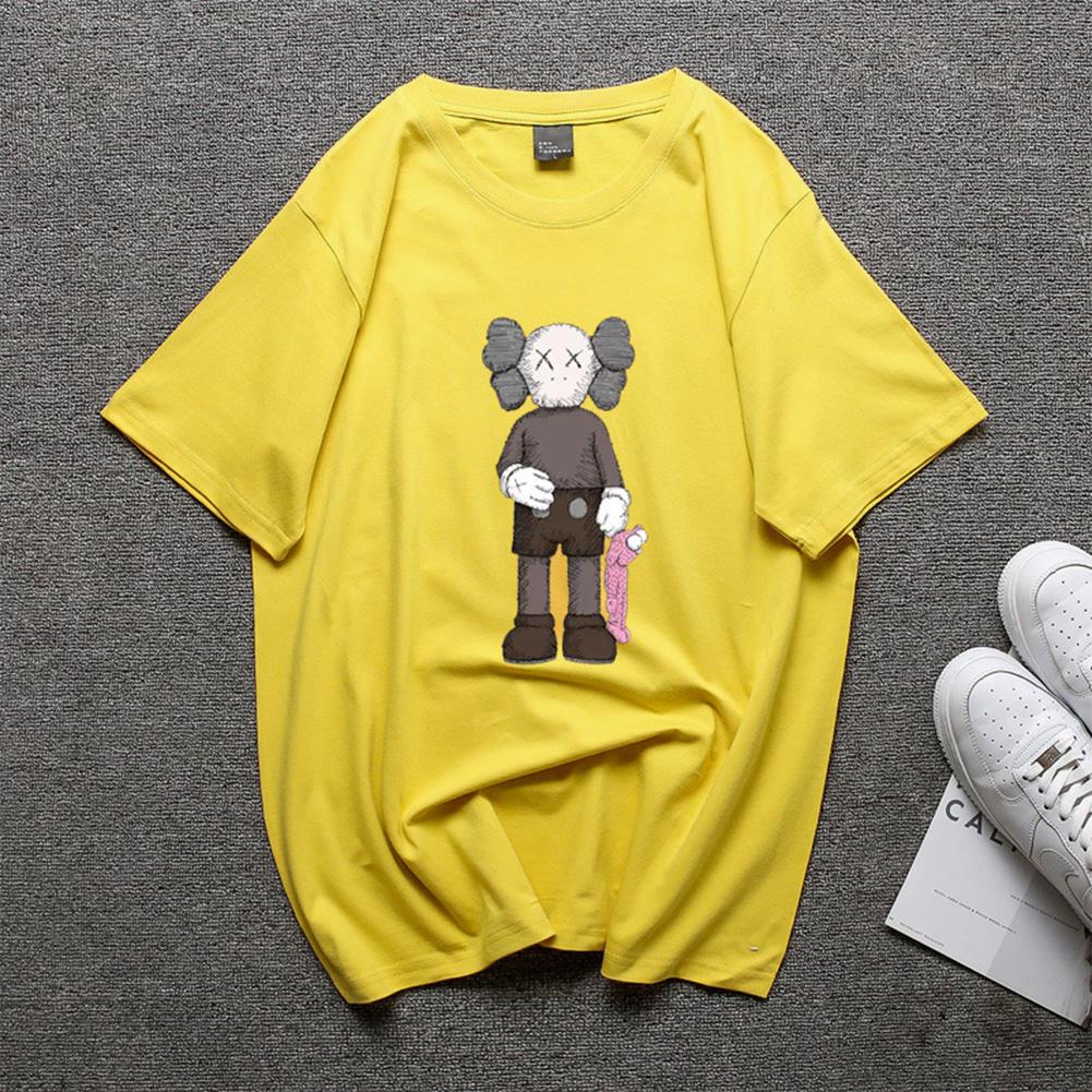 Boy Girl KAWS Couple T-shirt Cartoon Doll Crew Neck Short Sleeve Loose Student Pullover Tops Yellow_M