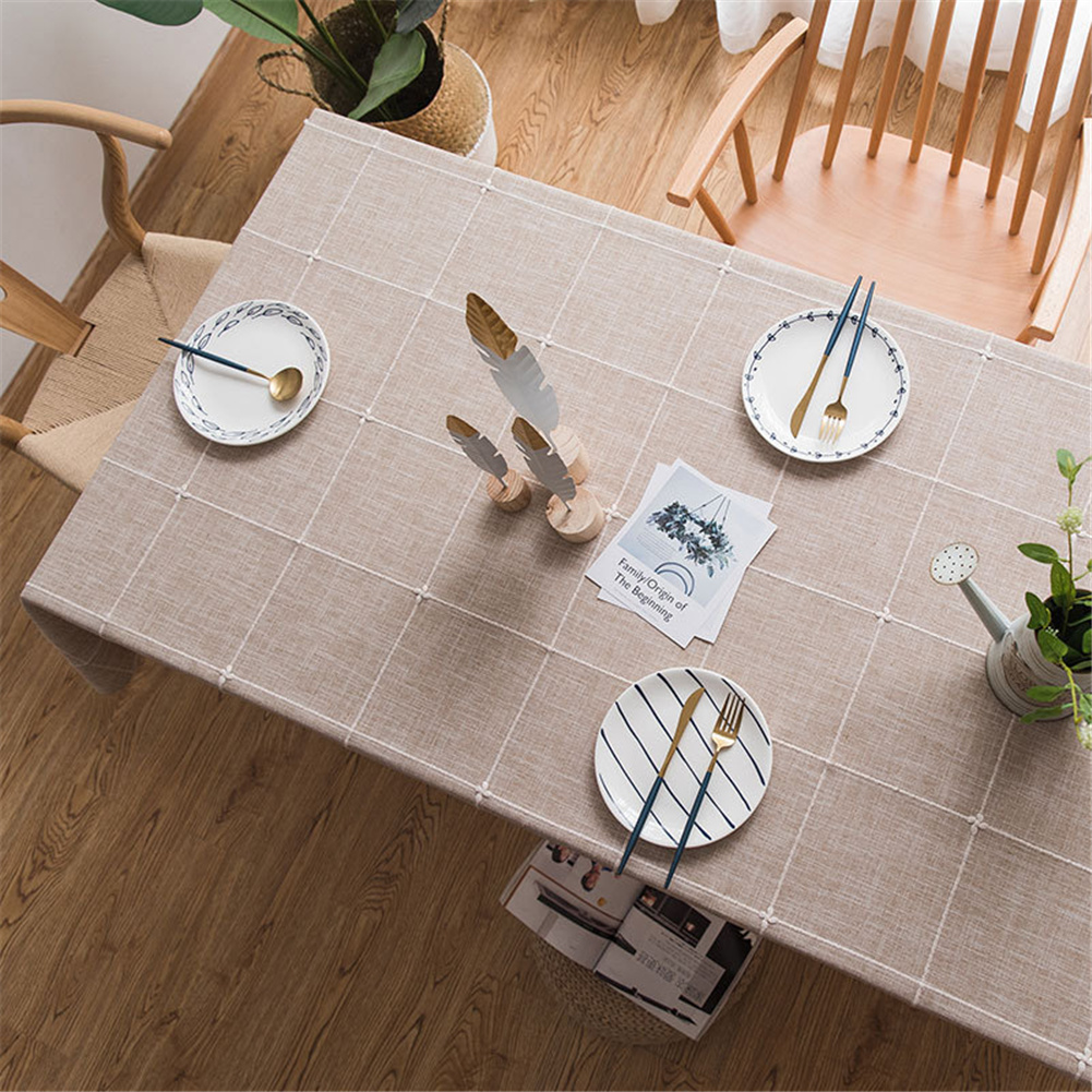 Cotton Embroidery Plaid Tablecloth Table Cover For Home Party Resturant Coffee_100*135cm