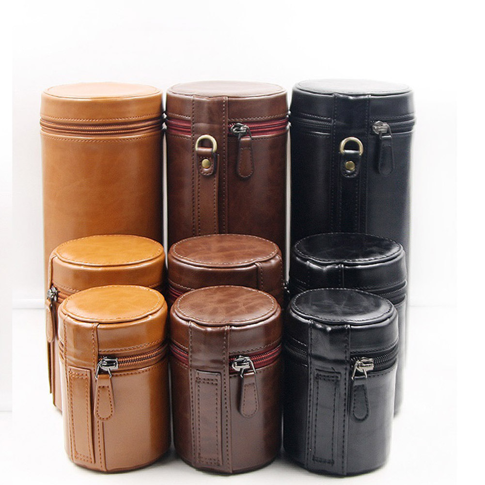 Retro PU Leather Lens Pouch Bag Protective Case for Universal DSLR Camera coffee_Medium