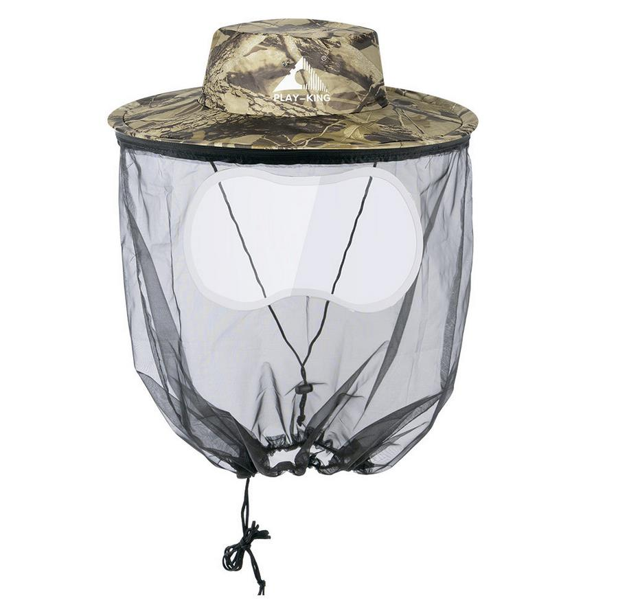 Men Fishing Cap Wide Brim Visor Sunshade Bee Keeping Mesh Hat Insects Mosquito Prevention Neck Head Cover Dead leaves camouflage