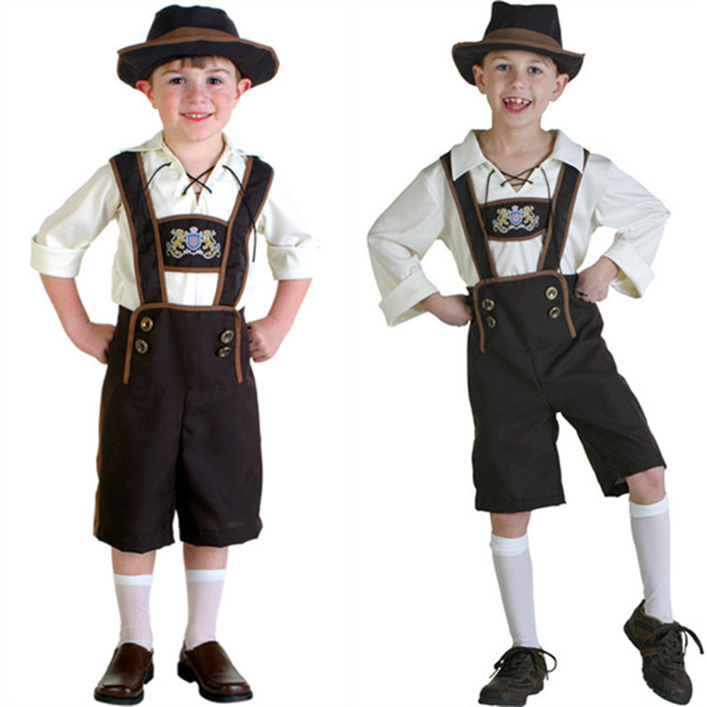 Children Girl Boy Fashion Oktoberfest Waiter Waitress Cosplay Costume Beer Festival Suit Boy brown beer_S