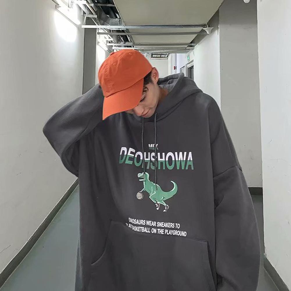 Men Women Hoodie Sweatshirt Thicken Velvet Dinosaur Loose Autumn Winter Pullover Tops Dark gray_L