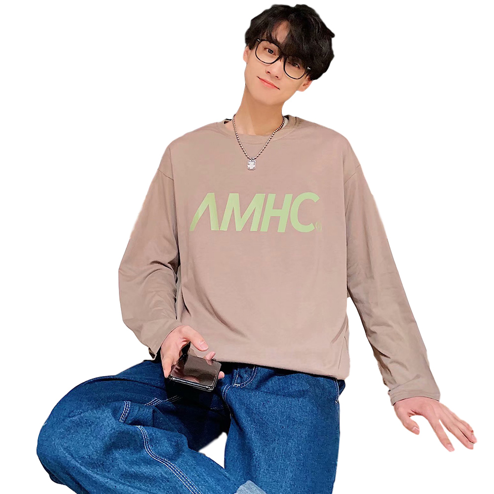 Men's T-shirt Spring and Autumn Long-sleeve Letter Printing Crew- Neck All-match Bottoming Shirt Brown_XXL