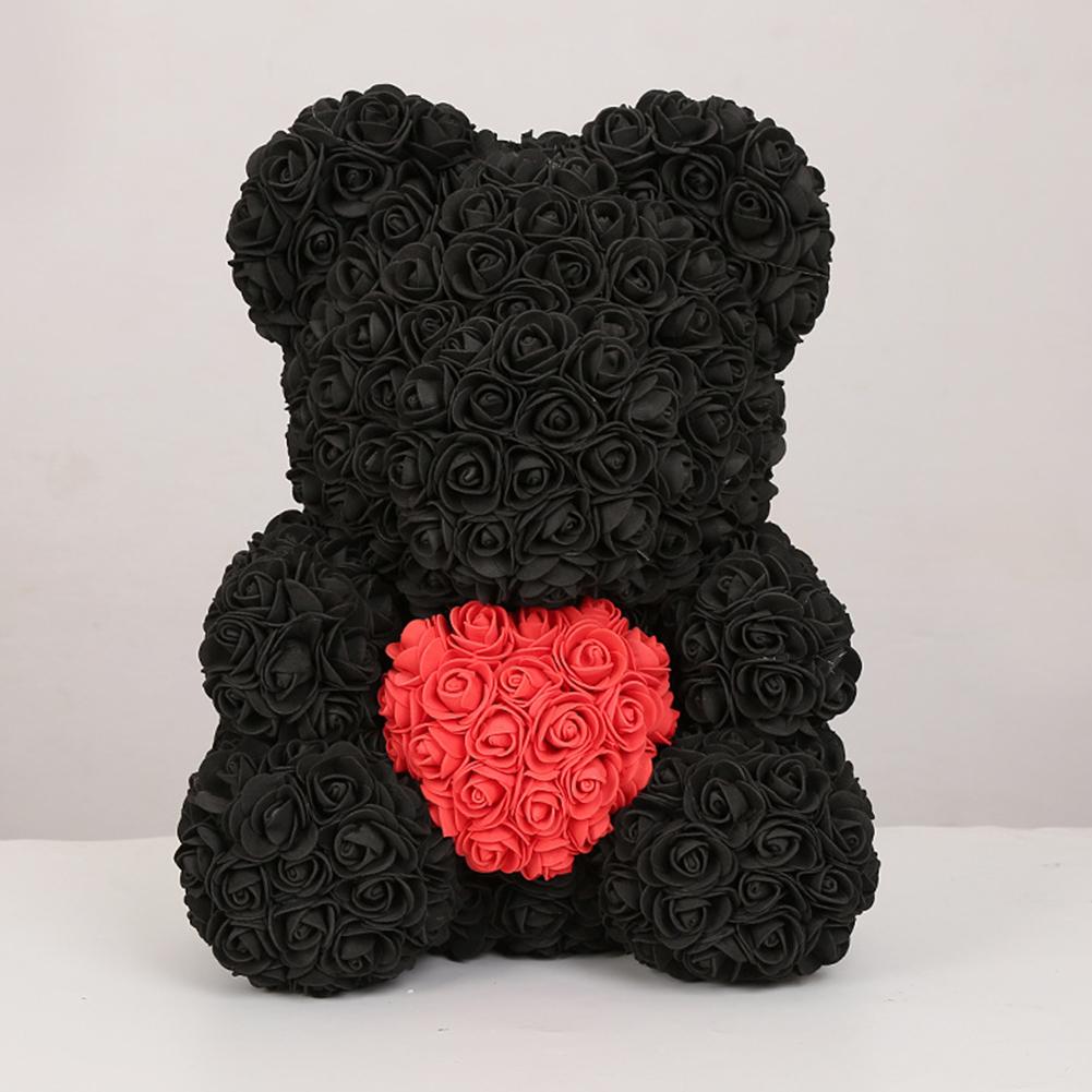 40cm Artificial Roses Cartoon Bear Toy Home Wedding Decoration Crafts black