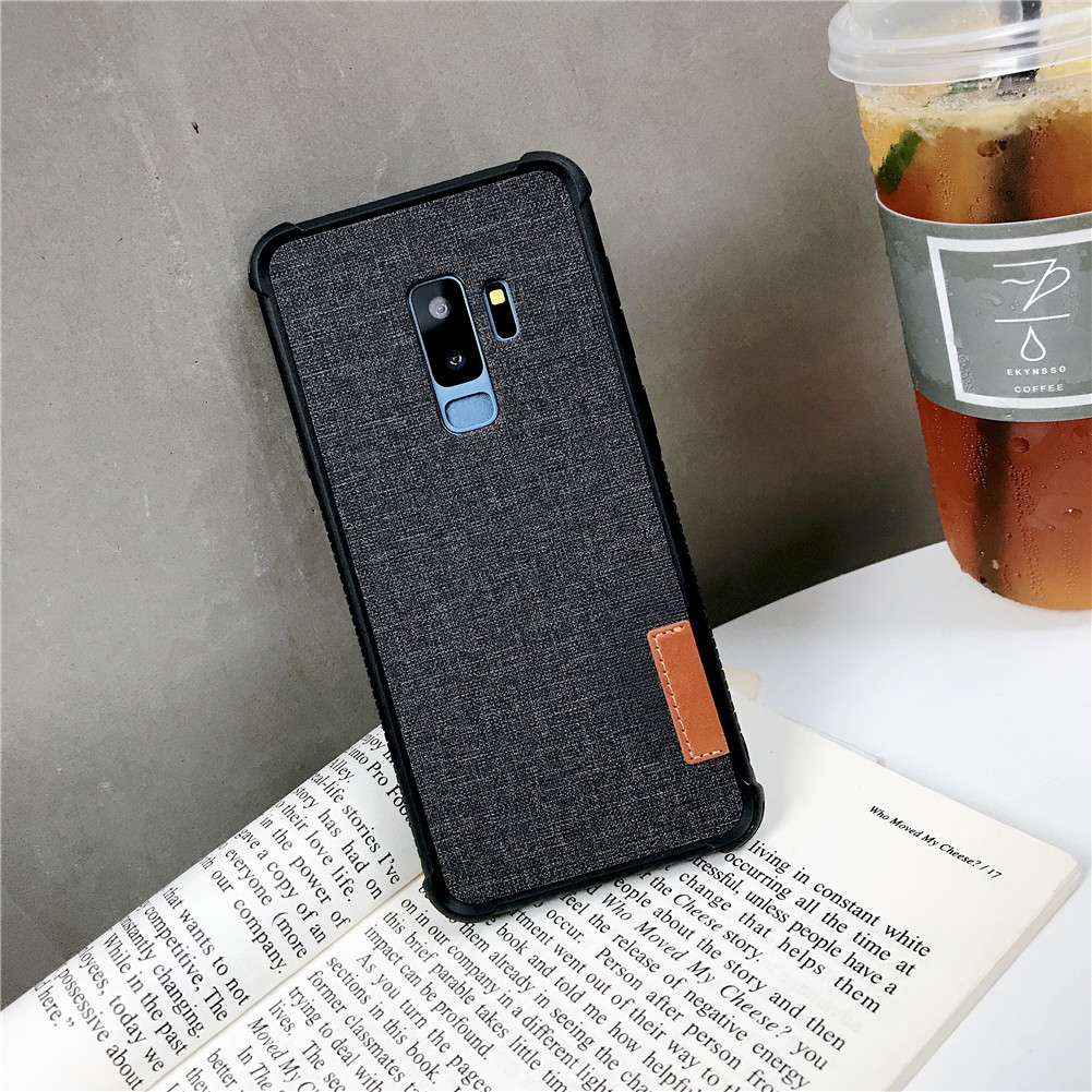 For Samsung S8 Retro Stylish Linen Finish Phone Back Case PC+ TPU 2 in 1 Anti-fall Protective Cover