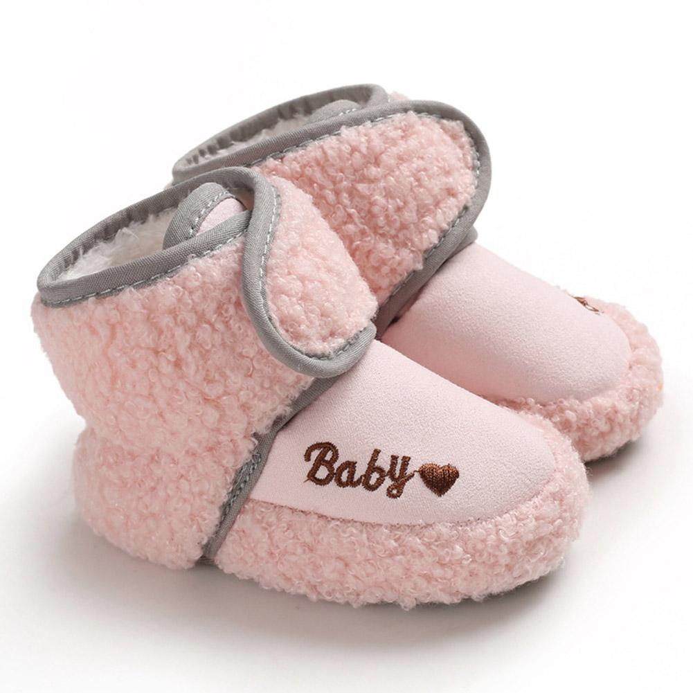 Newborn Plush Snow Boot Warm Soft Sole Non-slip Shoes for Winter Infant Boys Girls Pink_Inside length 13 cm