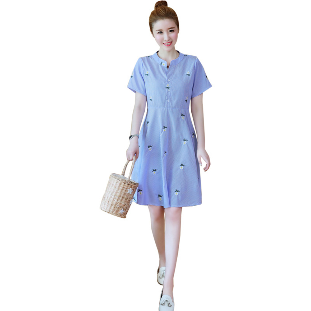 Medium Style Stripes Printing Embroidered Dress for Pregnant Woman blue_M