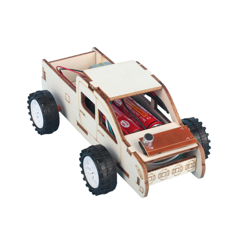 1pcs Wooden Voice-activated Car Toy  Diy Kit Toys For Children Car Diy Abs Kit Educational Funny Gadget Hobby Gift as picture show