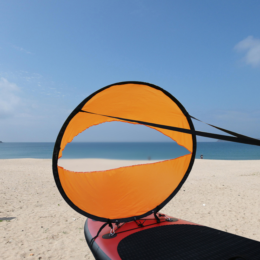 Kayak Boat Wind Sail Foldable Portable Rowing Boats Transparent Window 108*108cm (orange)