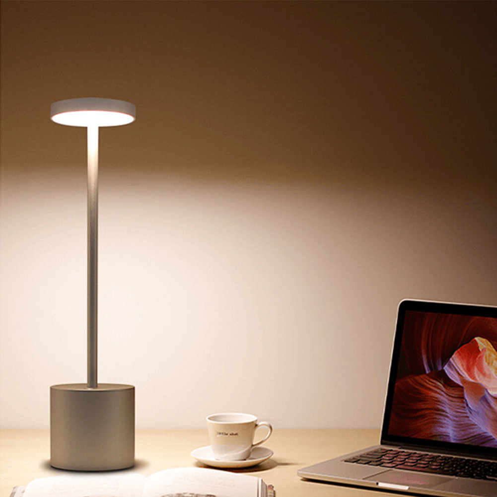 LED USB Rechargeable Table Light Stylish Night Light with 2-mode Eye-Protect Lamp Gift  Sliver shell Warm white light