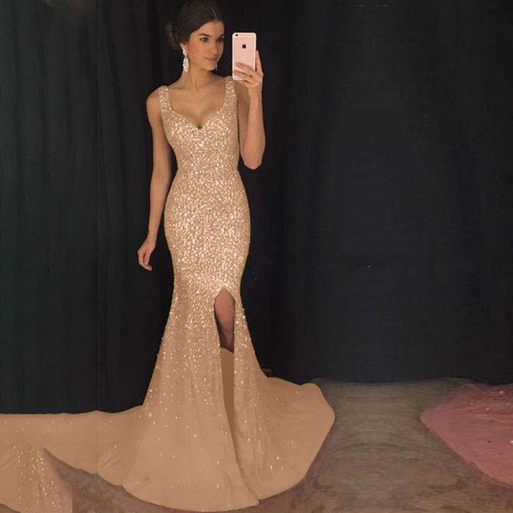 Female Sequins Fishtail Full Dress Deep V Spliting Sling Long Evening Gown  Gold_M