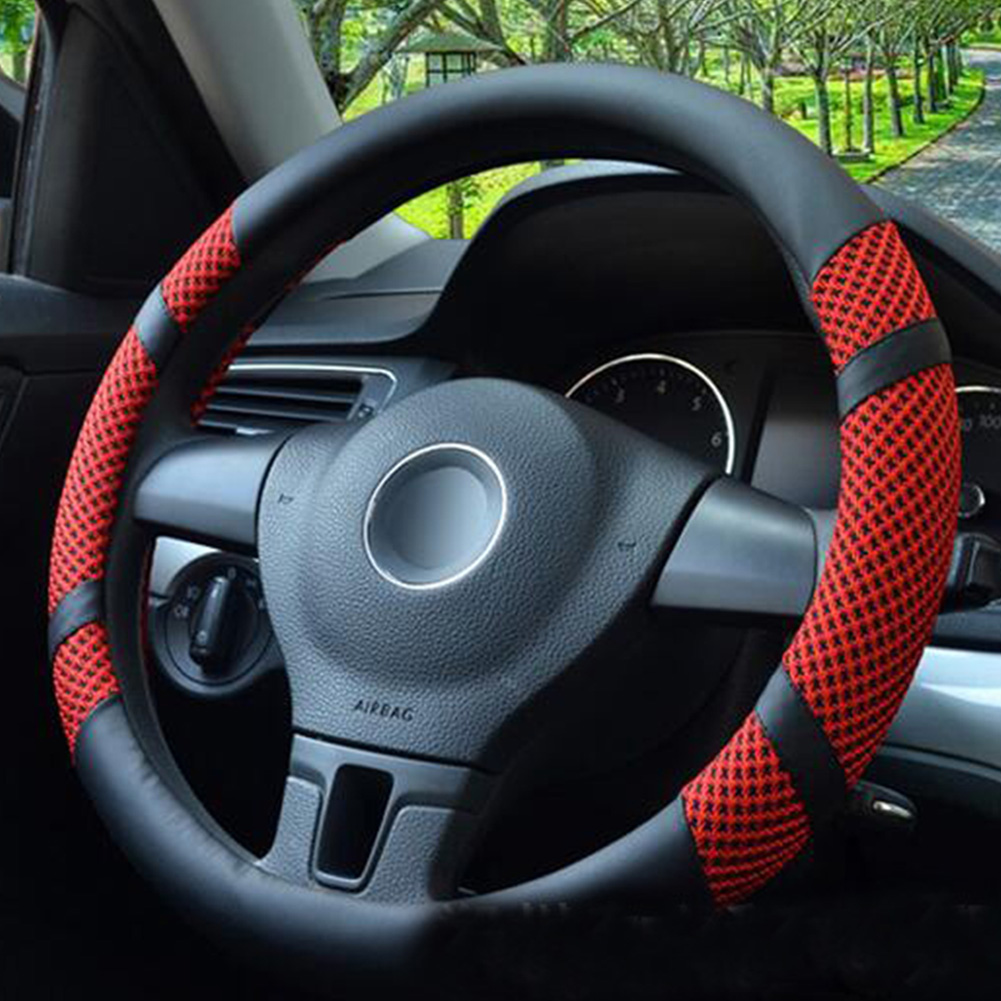 New Design Summer Ice Silk Steering Wheel Cover, Breathable Anti-skid Univere cover red_38cm