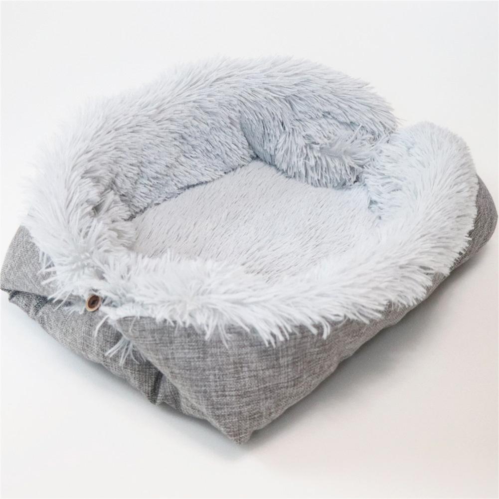 Cat Litter Pet Mat Dual-use Kennel Cat Mat Long Hair Cashmere Cat Mattress Pet Nest Autumn and Winter Nest Gray plush + gray