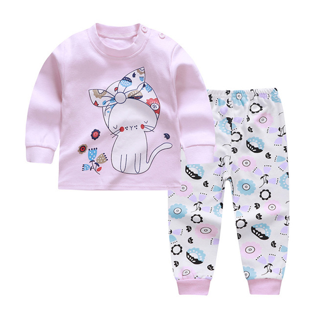 2pcs/set Children Boys Girls Soft Cotton Home Wear Set Tops + Pants light pink cat_90 yards / 60