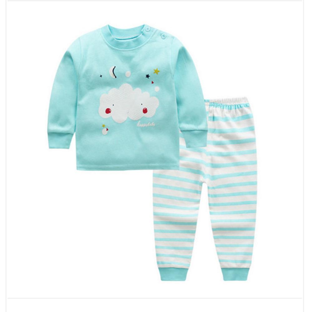 2pcs/set Children Boys Girls Soft Cotton Home Wear Set Tops + Pants Green star moon_100 yards / 65