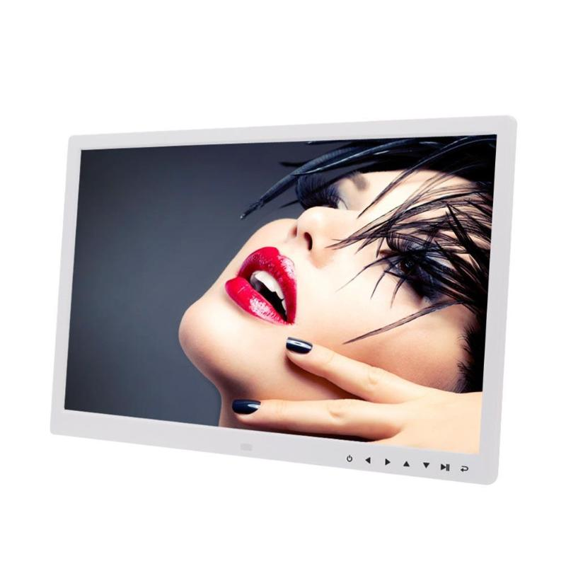 17 Inch HD Digital Photo Frame Electronic Album Touch Buttons Video Player with Clock Calendar  White EU plug