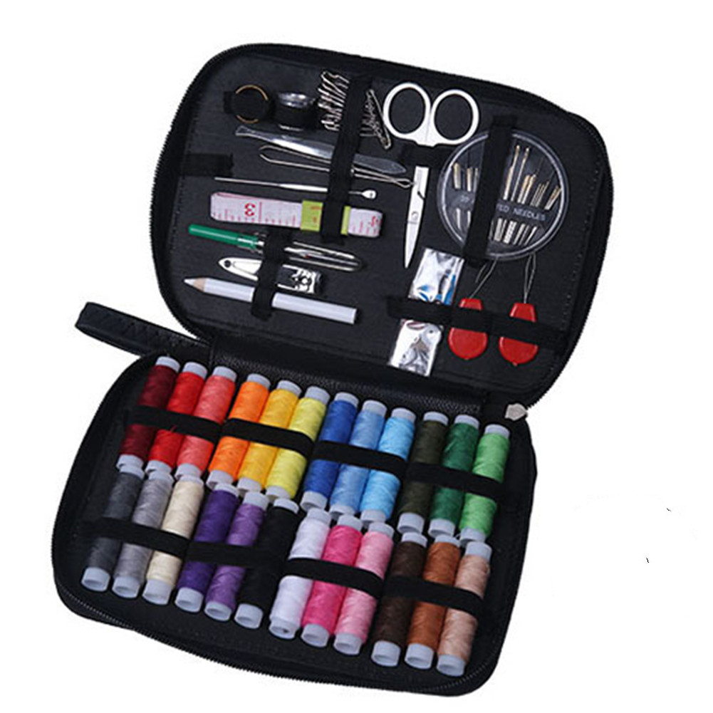 1 Set Leather Sewing  Kit 24-color Thread Portable Home Diy Sewing Tools Set Black