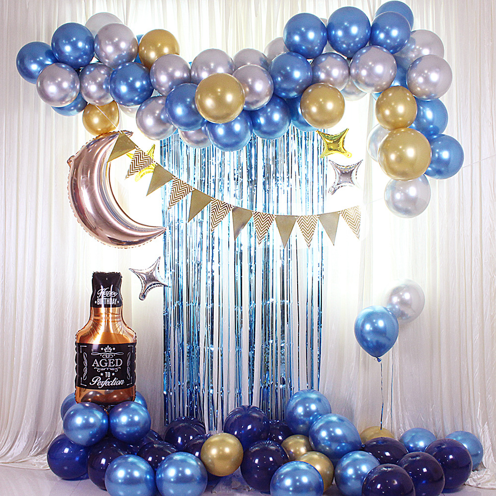 Aluminum Foil Blue Balloon Garland Hanging Banner Whiskey Shape Balloon For Party Venue Decoration  Props 87PCS Whiskey Set