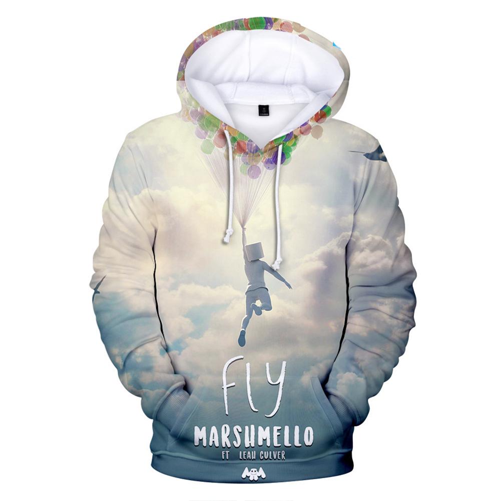 Unisex Fashion 3D DJ Marshmello Pattern Casual Long Sleeve Hooded Tops  C_S