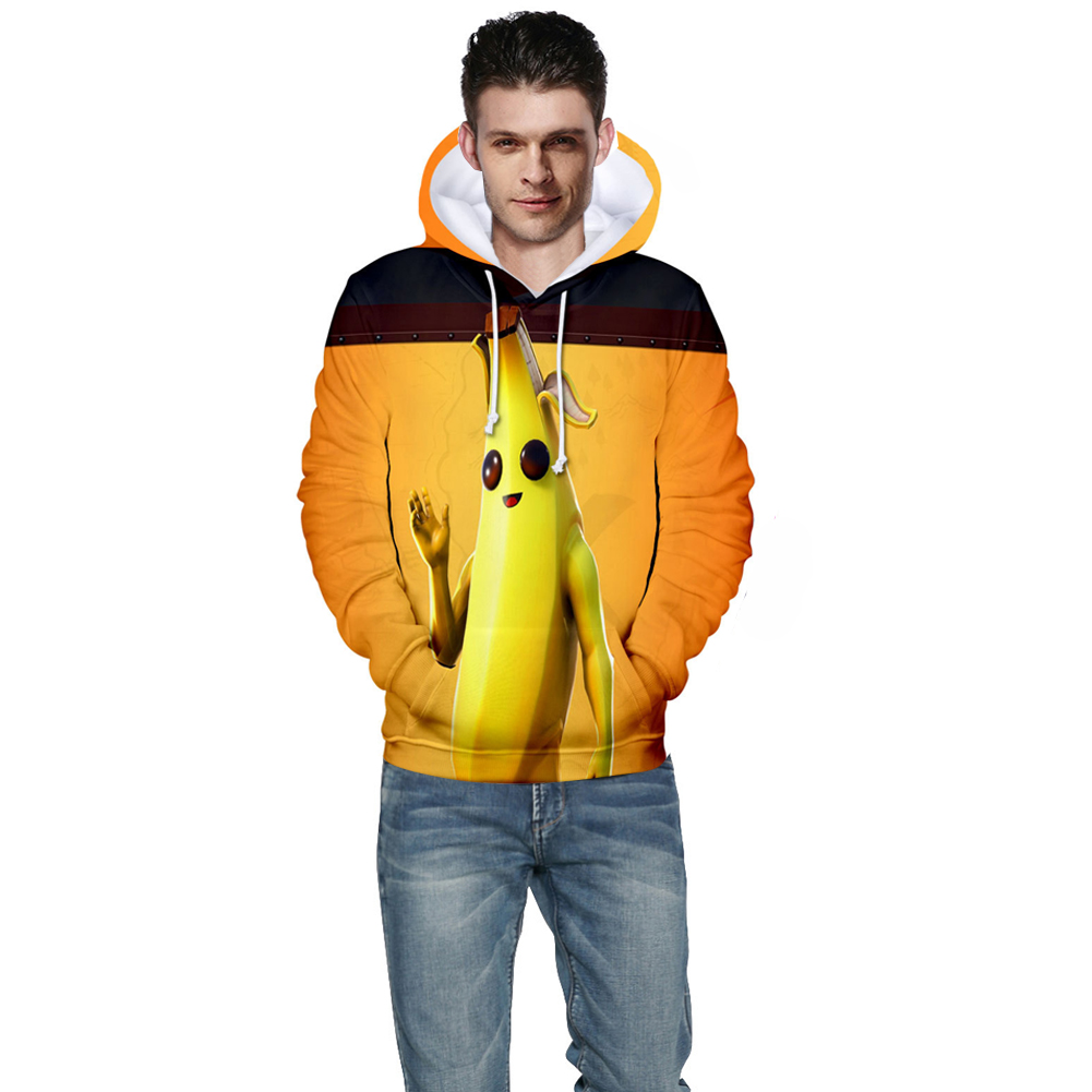 Men Women Couple Vivid Color Cartoon Banana 3D Printing Casual Hoodies B style_S