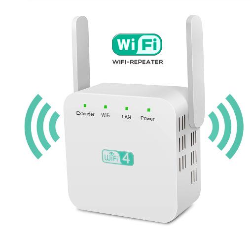 WiFi 300Mbps Amplifier WiFi  Router 2 External Antenna Wifi Range Amplifier white_American wire gauge