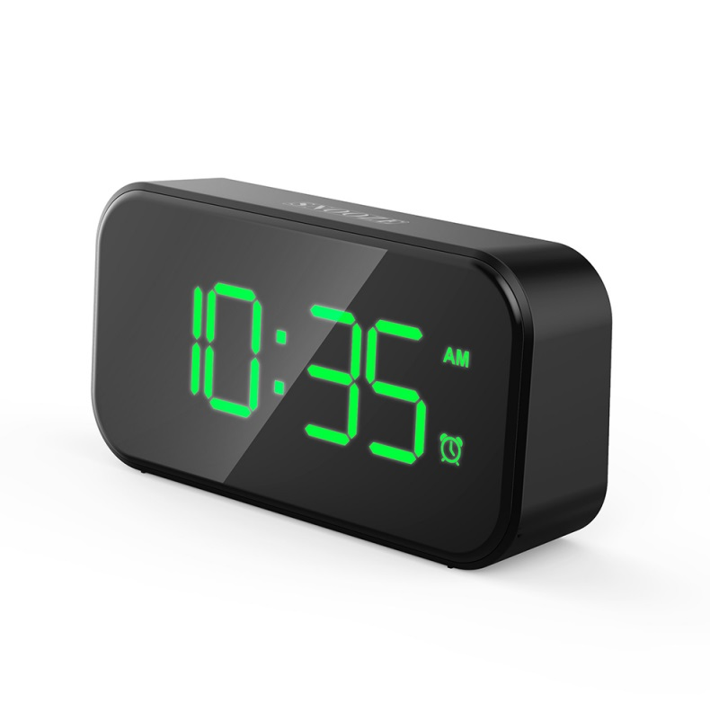 Small Digital Alarm Clock for Heavy Sleepers with 100dB Extra Loud Alarm USB Charger Alarm Clock for Bedroom  Green font