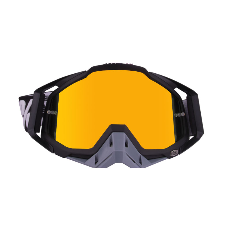 Motorcycle  Goggles Outdoor Off-road Goggles Riding Glasses Windproof Dustproof riding glasses All black + gray (red film)