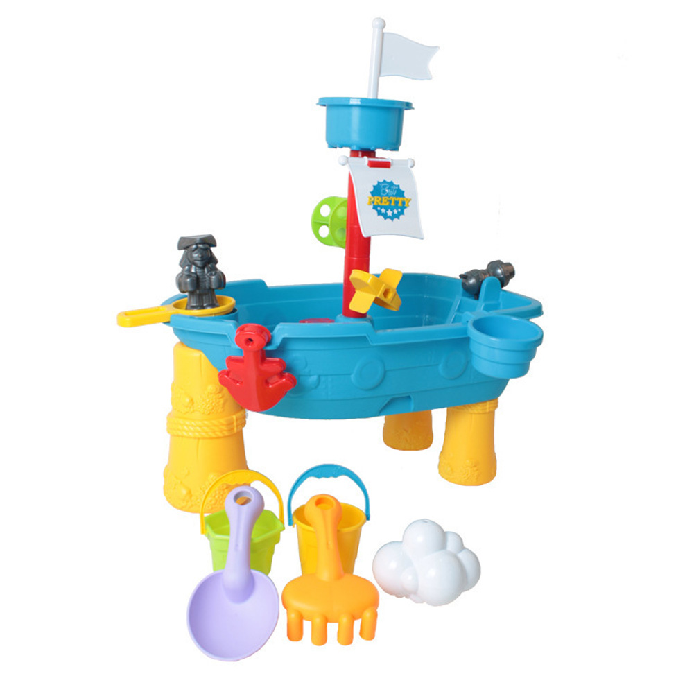 17pcs /set Children Beach Table Sand Pool Set Large Baby Water And Sand Dredging Tools Sand Water Play Toys Suit Beach boat