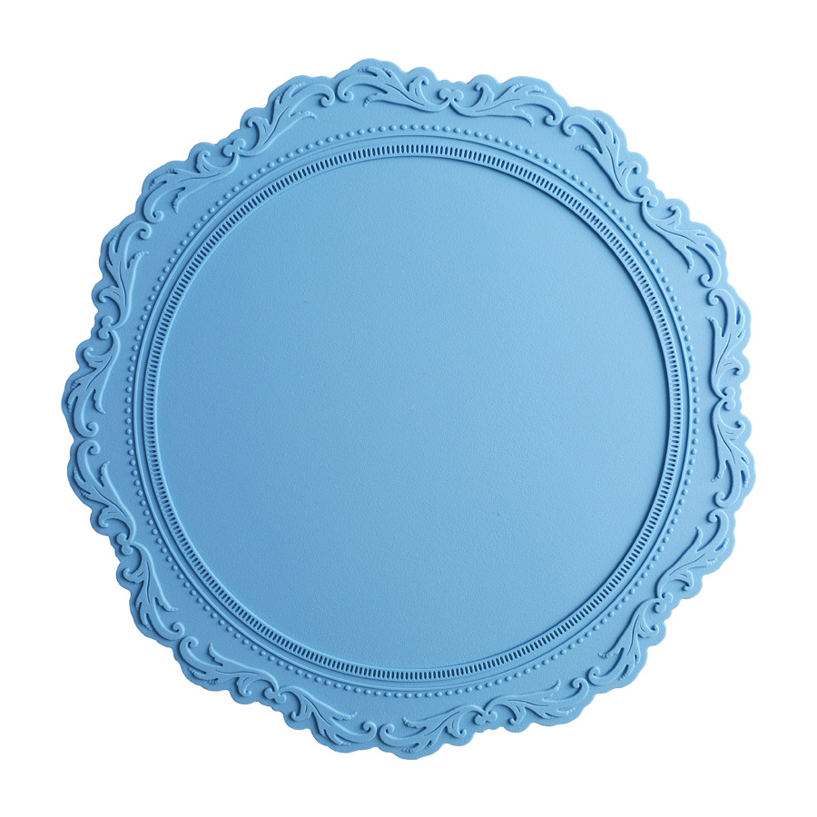 Placemat Heat Insulation Embossed Tablemat Silicone Tableware Accessories Light Blue