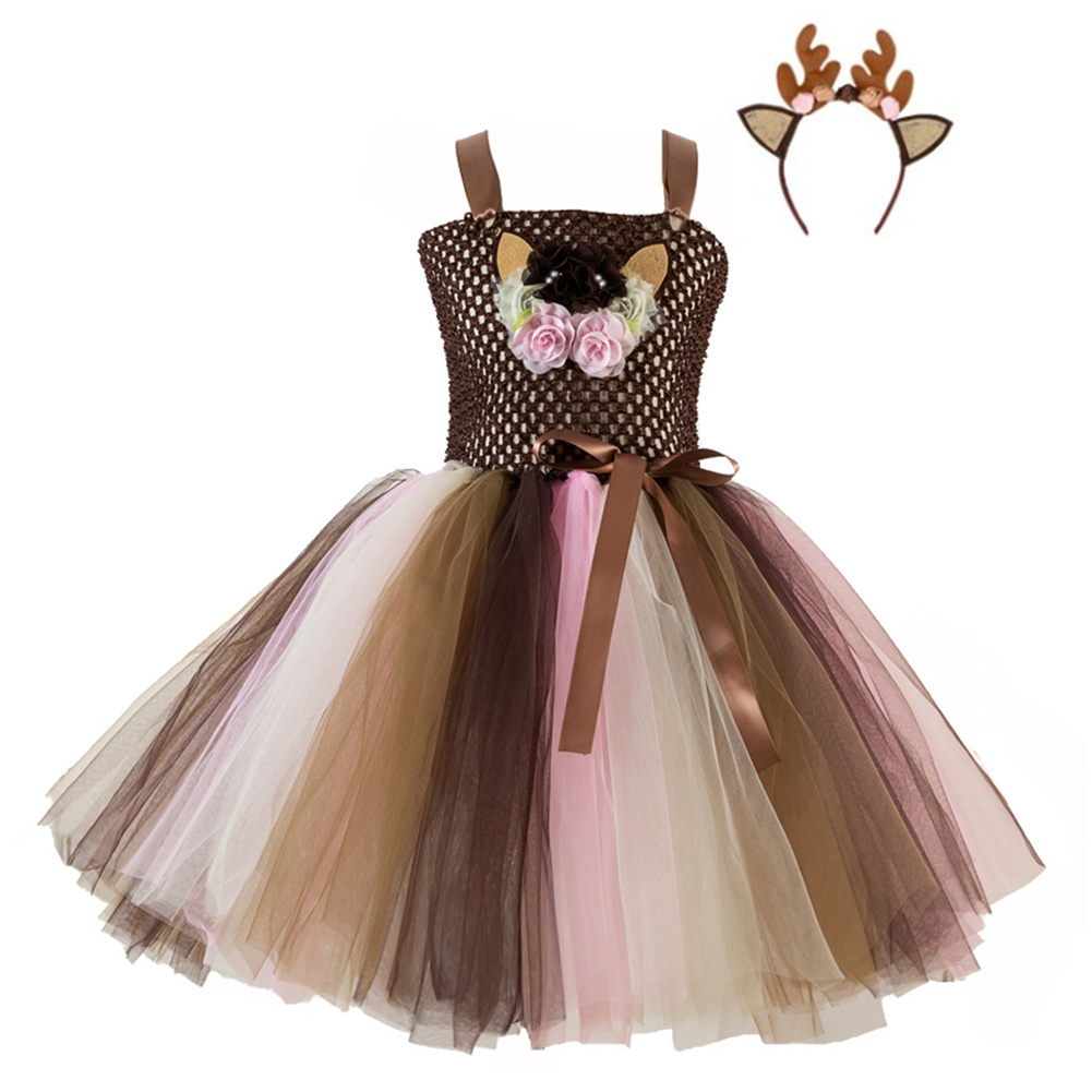 Girls Dress Christmas Cartoon Net Yarn Dress + Headdress  for 4-12 Years Old Kids HH5085