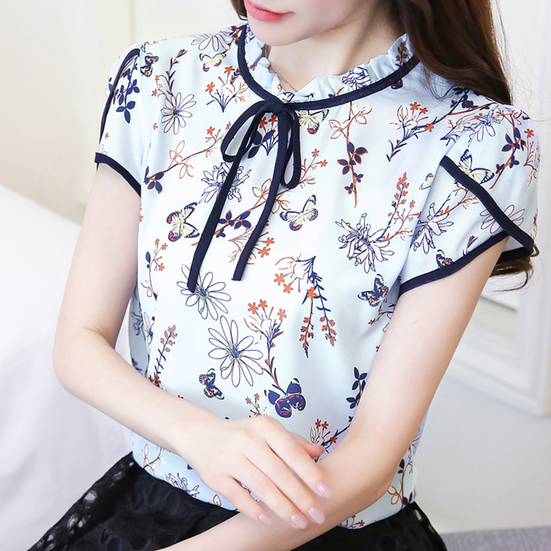 Women Lacing Floral Short Sleeve  Shirt