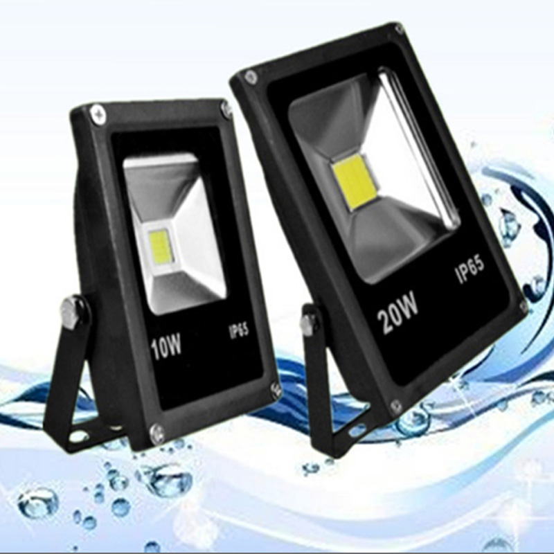 [US Direct] 10W Waterproof Daylight White 6000-6500k LED Flat Flood Light with 3-Plug,American Standard,AC85-265V,Black