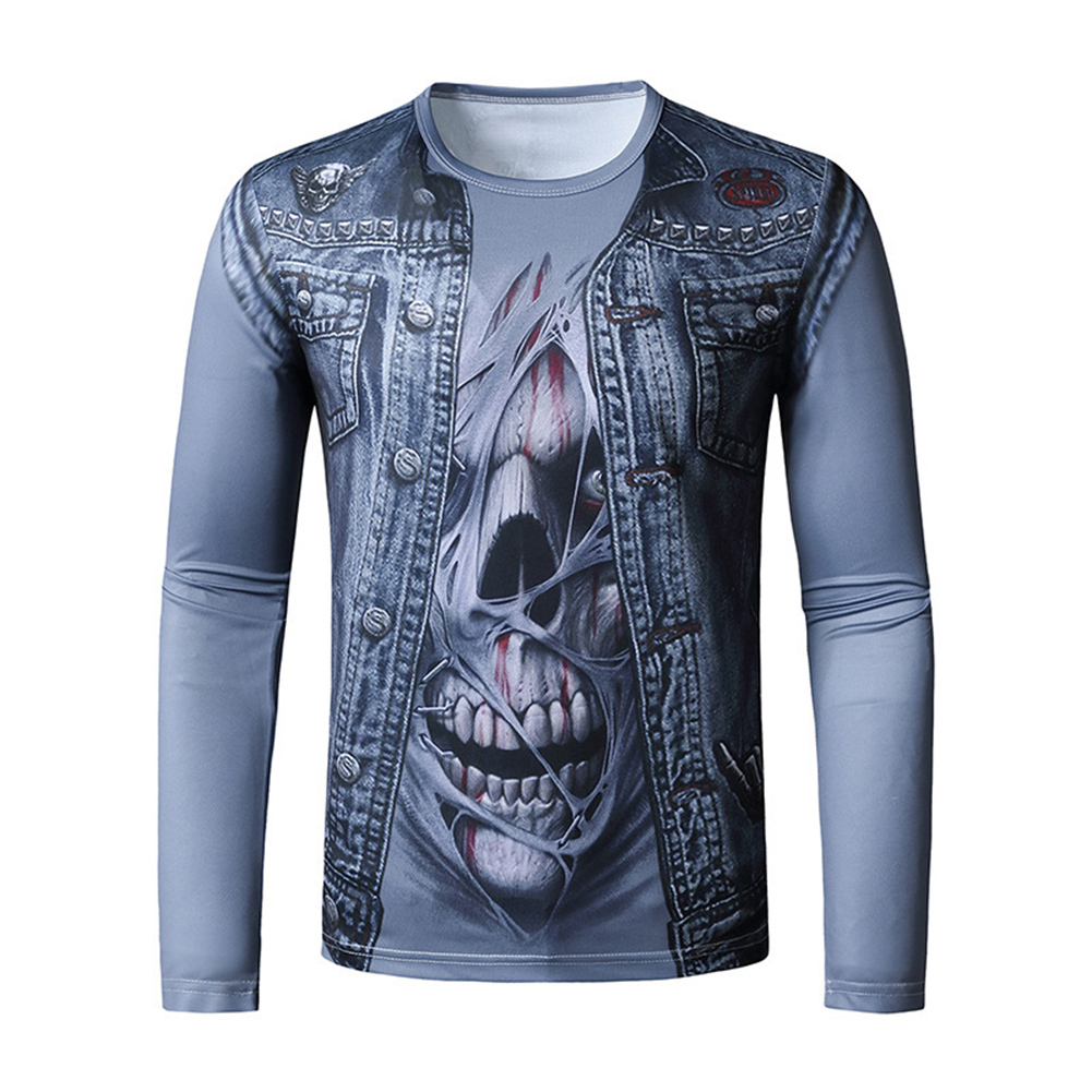 Men Long-sleeved Shirt 3D Digital Printing Halloween Series Horror Theme Long Sleeved Round Neck Shirt Blue_XL
