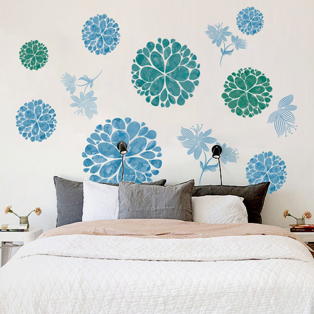 Removable Wall Stickers Blue Flower Waterproof PVC Decals Living Room Bedroom Wallpaper Decoration 60 * 90cm