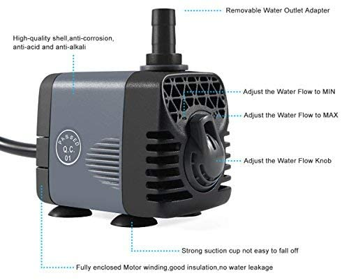[US Direct] Original ANKWAY Submersible Water Pump GPH160, Rotation Switch with Different Nozzles for Pond, Aquarium, Fish Tank Fountain, Hydroponics, 5.9ft Power Cord Black