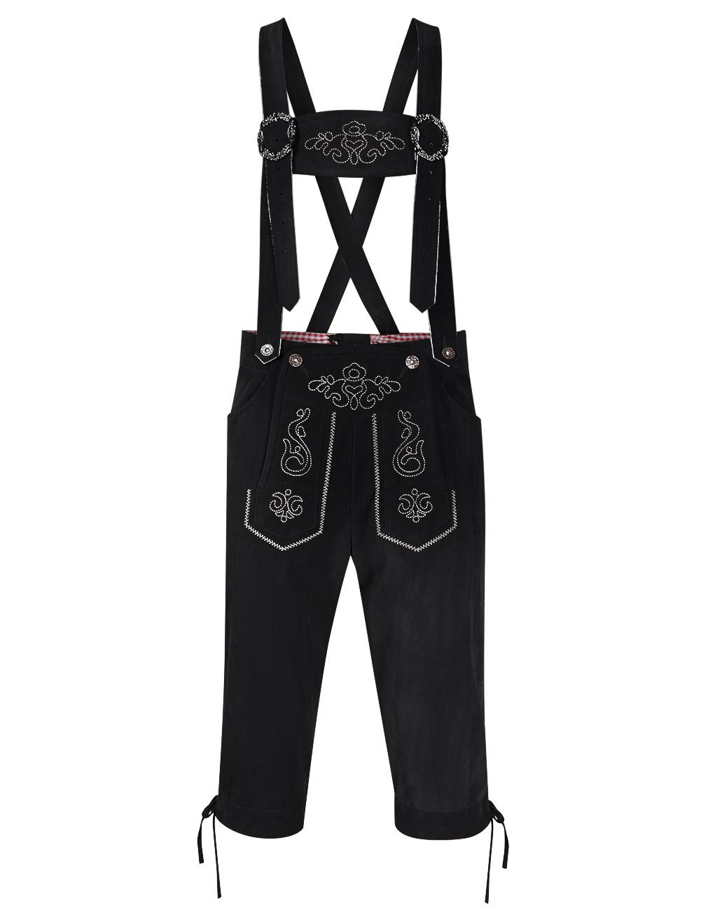 [EU Direct] Men's Oktoberfest Stylish Embroidery Party Dress Pants Vintage Faux Fleece Strap Midi Pants
