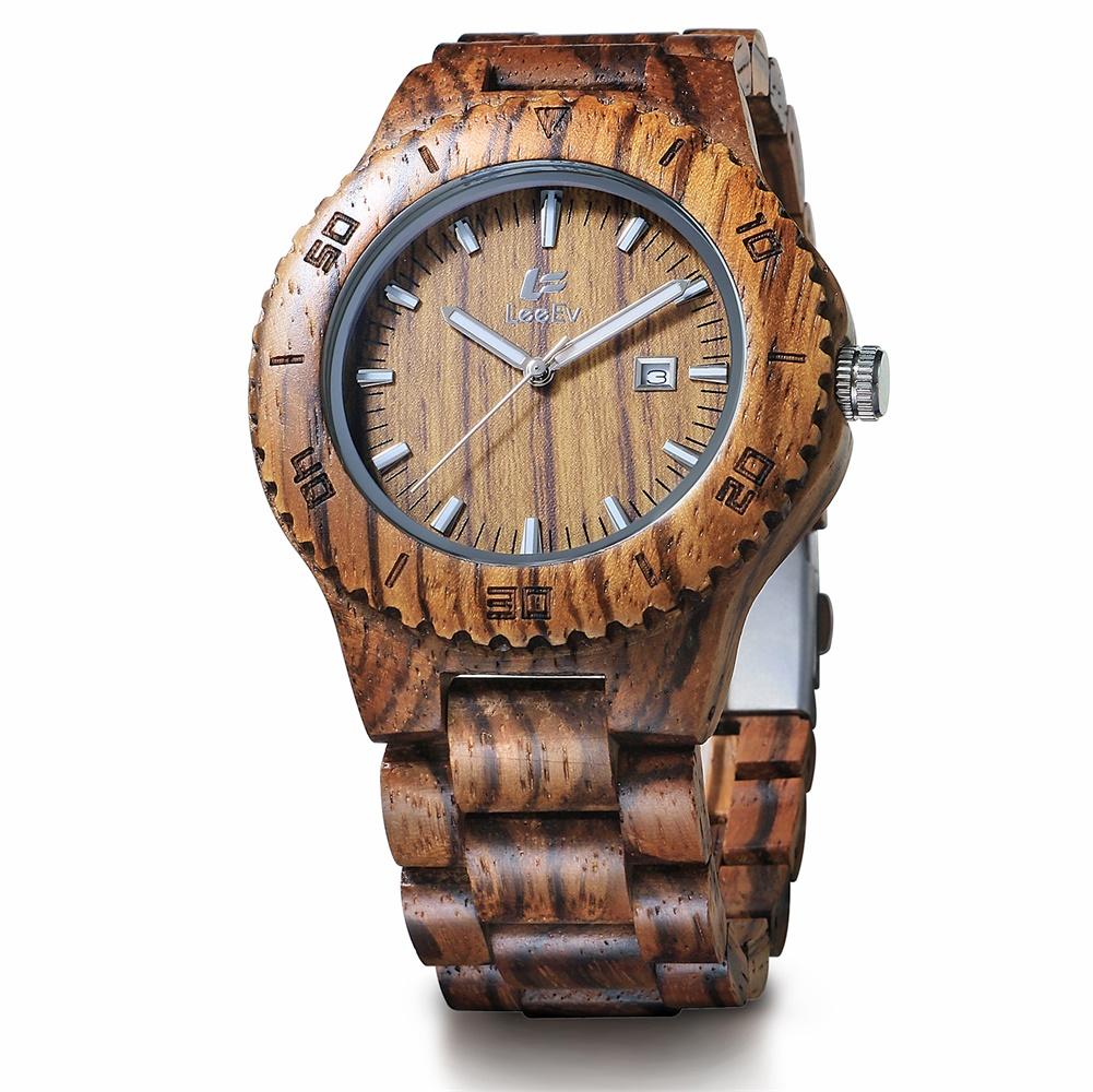 [EU Direct] Unique Unisex Analog Quartz Watch Wood Band Fashion Retro Casual Wristwatch