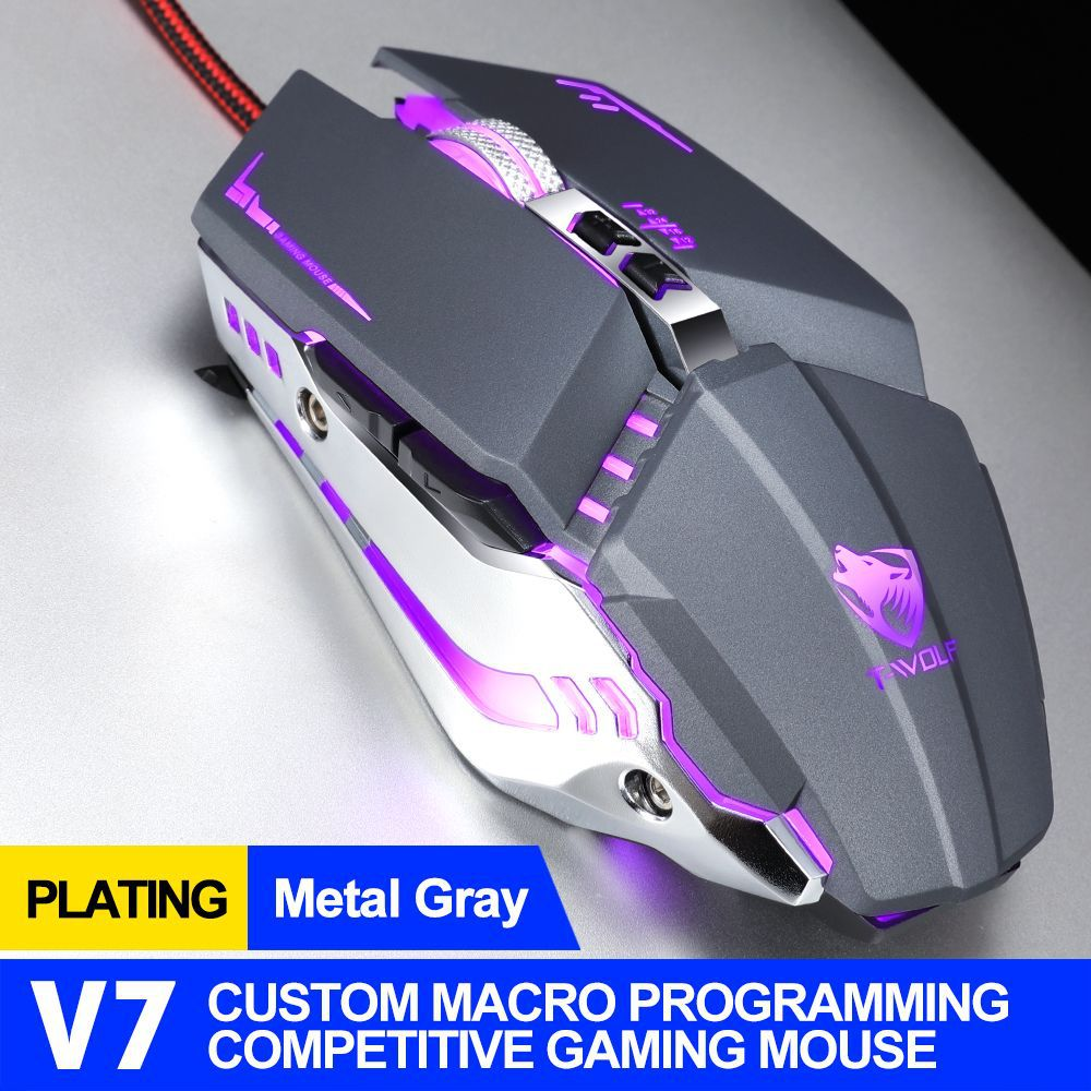 Computer Mouse V7 English Edition Mechanical Game Wired Mouse For Desktop Computer metal gray