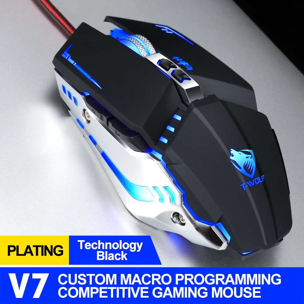 Computer Mouse V7 English Edition Mechanical Game Wired Mouse For Desktop Computer Tech black