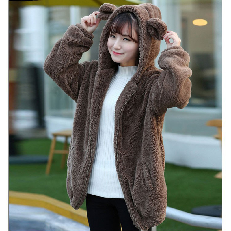 Women Fashion Solid Color Cute Cartoon Furry Coat with Ears Tail Hoodie Brown_One size