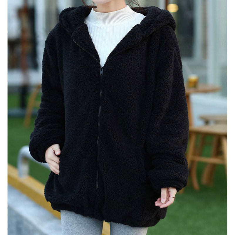 Women Fashion Solid Color Cute Cartoon Furry Coat with Ears Tail Hoodie black_One size
